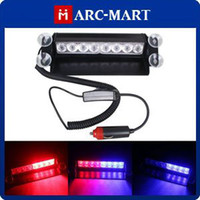 Wholesale 8 LED Dash Strobe Car Light Deck Flash Emergency Warning Lights Red Blue DC V ST196