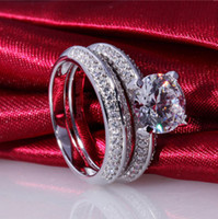 Wholesale celebrity style sterling silver NSCD Simulated diamond wedding band sets for women promise ring sets wedding sets