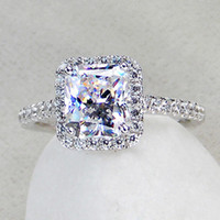 Wholesale diamond supply Luxury Princess Cut Simulated Diamond Rings For Women silver Halo Style Wedding amp Engagement Rings