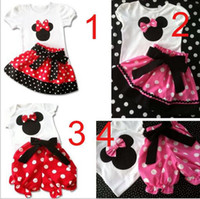 Girl Spring / Autumn  Hot Sale Children's Suit girls Tshirt+Pants(Skirt) 4 Desigs 1-6Y Outfits Sets Outwear Minnie Mouse