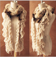 Wholesale Real raccoon fur winter fur scarves wool scarves Knit Wool Scarf