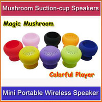 Wholesale Mini Protable Bluetooth Speaker Wireless Colorful Mushroom Suction cup Speakers with Mircophone Calls Handsfree FreeShipping JL00
