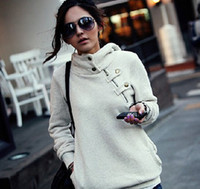 Wholesale Hot Sale Leisure Hoodies Sweatshirt Cotton Blended Stand Collar Long Sleeve Solid Color British Style Women s Colors Sweatshirts LH005