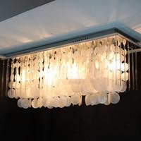 Wholesale Rectangular glass shell ceiling light modern lamp living room lamps bedroom lamps