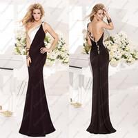 Reference Images One-Shoulder Chiffon 2014 New Hot Tarik Ediz Prom Dress,Black Chiffon One Shoulder Simple Pleats Mermaid Floor Length Glamorous Cheap Formal Dresses