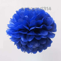 Wholesale 6 cm inch Navy Blue Tissue Paper Pom Poms Wedding Party Decoration Cheerleading Craft Paper Flower For Baby Shower Decoration