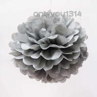 Wholesale 6 cm inch Silver Tissue Paper Pom Poms Wedding Party Paper Flower Decorations