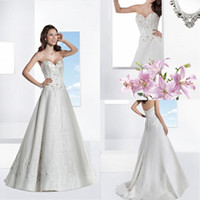 Unique 2014 A Line Wedding Dress Sweetheart Applique Beads S...