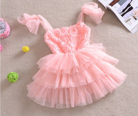 Wholesale Free EMS DHL Summer New Kids Clothing Rose Flower Net Yarn Gallus Baby Girls Princess Layer Dress Children Cake Dresses Child Wear QZ400