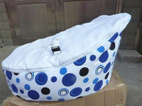 Wholesale Hot Promotion Baby seat baby bean bag blue wihte dot beanbag chair without filling