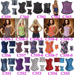 Wholesale 100pcs Hot Selling Overbust Corsets Boned Bustiers Floral Print Women Sexy Lingerie Two Pieces Sexy Underwear Plus Size
