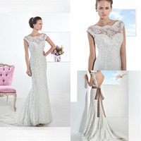 Fashion Design Charming 2014 Sheath Wedding Dress Sheer Neck...