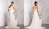 Wholesale Beaded Sweetheart Strapless A Line Pleated Corset Lace Up Back Beach Garden Wedding Dress Chiffon Plus Size Formal Bride Gown AQ635
