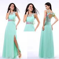 Reference Images Crew Chiffon Aqua Prom Dresses Sequins Sexy Floor-length Halter Side Slit Women's Formal Dress Hollow Chiffon Long Party Evening Gowns In Stock AF22