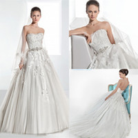 Famous 2014 A Line Wedding Dress Strapless Jeweled Belt Lace...