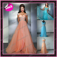 Wholesale 2016 Peach Chiffon Evening Dresses Elegant Beaded Crystals Sweep Train New Prom Pageant Party Gowns Hot Sale Cheap Actual Images Under