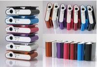 Wholesale Mini Clip MP3 player support TF SD Card with earphone USB Cable retail box Metal Mp3