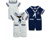 Wholesale R016 Retail Baby Boy Sailor Rompers Seaman Bodysuit Bebe Navy Costume Summer Short Sleeve Clothes Dark Blue White Colors