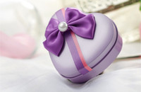 Pink heart shaped tin box - FreeShipping New Style Heart Tin Candy Boxes with Bowknot Ribbon Wedding Box Four Colors