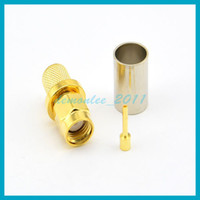 10pcs lot Free shipping RP SMA Male Plug(Female pin) Goldpla...