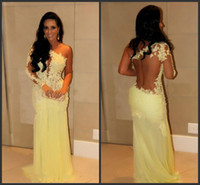 Reference Images One-Shoulder Lace 2014 Sexy New One Shoulder Yellow Lace Prom Dresses Chiffon Sheer Applique Beaded Ruffles Floor Length Evening Gowns cheap