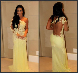 Wholesale 2014 Sexy New One Shoulder Yellow Lace Prom Dresses Chiffon Sheer Applique Beaded Ruffles Floor Length Evening Gowns cheap