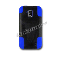 Wholesale Hybrid Armor Protector Shield PC Blue Silicone With Kickstand Phone Combo Case Cover for ZTE Solar Z795G With Retail Packing