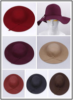 Wholesale Stylish Wool Crushable Cap Hat Lady s Summer Beach Bowknot Band Wide Brim Floppy Hat Color Optional DII