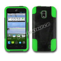 Wholesale Hybrid Black Hard PC Neon Green Silicone Stand Combo Case Cover for ZTE Solar Z795G Phone With Retail Packing