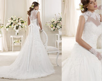 Wholesale Free Jacket Two Piece Design A Line Beaded Lace Tulle High Collar Jacket Bolero Close Button Wedding Dresses Wedding Bride Gowns Dress