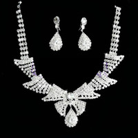 Wholesale 2014 Sets New Cheap Mix Order Sparkly Charming Crystal Stones Necklace Earrings For Wedding Bride
