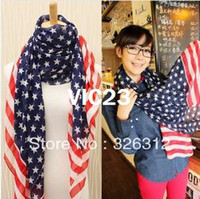 Wholesale New Winter Chiffon Scarf Scarves Women Five pointed star USA Flag Scarf Shawl Wrap Scarves S size cm RJ1908