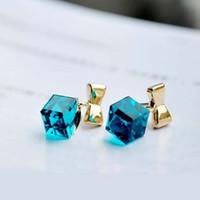 Wholesale Crystal Stud Earrings For Women Cute Gold Bow Earrings Charm Earrings Wedding Jewelry PARS