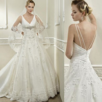 Wholesale 2014 New Crystal Beads Lace Wedding Dresses Online A line Sexy V Neck Spaghetti Sheer Tulle Gown For Bride Backles Wedding Dress Custom Made