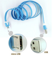 Cheap Micro USB Cable charger Colorful Noodle Flat USB Wire 1M 3ft For Smart phone 4 5 Samsung Galaxy S4 Note 2 Huawei Lenovo HTC Blackberry