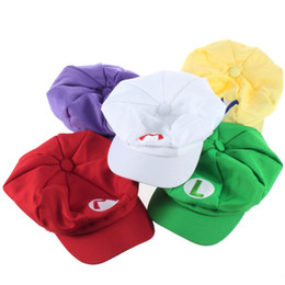 Wholesale 2014 HOT SALL MIX ORDER Super Mario Bros Anime Cosplay Hat red white Mario green Luigi yellow Wario Purple Wario hats