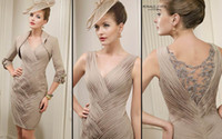 Wholesale Veni Infantino V Neck Pleat Mother of the Bride Dresses with Jacket and Knee Length with Half Sleeve Jacket E1219