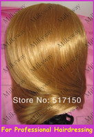 Wholesale Milkyway human hair mannequin head for training use model head with stand inch brown hair without make up trainning head