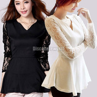 Women V_Neck Basic Tee Sexy Womens Ladies Lace Long Sleeve Chiffon Peplum Tunic T Shirt Blouse Tops(ax267) Free shipping