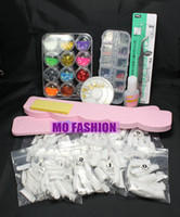 Acrylic Nail Art Set No  Free Shipping Acrylic French Nail Tips Glitter Glue Display Kit Set A024