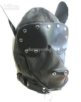Wholesale Female Dog Head Face Sex Hoods Slave Mask Headgear Bondage BDSM Sex Toy Product Game Gadgets YTJ482