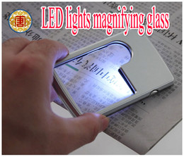 Wholesale New style Card type magnifying glass with LED lamp Double ratio of magnifying glass chip lighting a magnifying glass