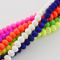 neon paint - DGLA R033 mm M Spray Painted Neon Glass Bead Strands Rubberized Style Faceted Abacus