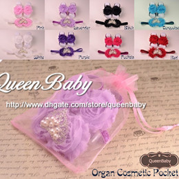 Wholesale Baby Barefoot Sandals with shabby Chiffon Flowers Matching Princess Tiara Headband set QueenBaby Trial Order