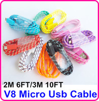 Wholesale 100pcs AAAAA Micro V8 USB Extension Charger Cable for Samsung Fabric Braided Woven M ft M ft Data Sync pin Cords for Blackberry HTC