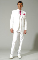 Wholesale New style white Groom Tuxedos groomsman Best Man Suit Mens Wedding Suits Jacket Pants Vest Tie ok