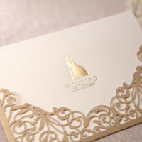 Wholesale Gorgeous Lace Cut out Free Personalized Customized Printing Wedding Invitations Cards Custom In Gold