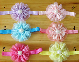 Wholesale Hot Sale Hair Accessories For Infant Baby Lace Big Flower Pearl Princess Kids Girl Hair Band Headband Baby s Head Free EMS DHL QZ406