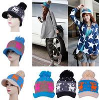 Wholesale Christmas Deer Pattern Hat Korean Style Women s Warm Winter Knitting Cotton Delicate Balls Knitted Hat Headgear DLK