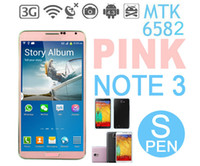 Wholesale S pen Note3 N9006 phone face unlock pink option MTK6582 Quad Core android4 phone inch IPS Screen GHz G drop ship
